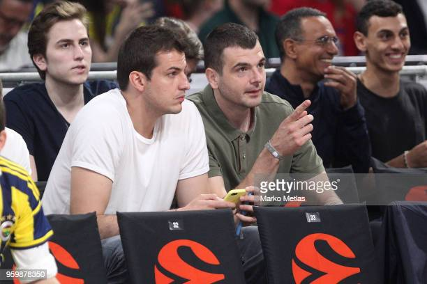 Nemanja Bjelica and Sava Lesic players of Serbian national basketball team attend the 2018 Turkish Airlines EuroLeague F4 Semifinal B game between...