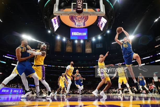 Nemanja Bjelica of the Golden State Warriors shoots the ball during the game against the Los Angeles Lakers on October 19, 2021 at STAPLES Center in...