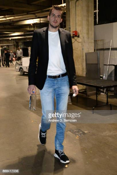 Nemanja Bjelica of the Minnesota Timberwolves arrives at the arena before the game against the LA Clippers on December 6 2017 at STAPLES Center in...