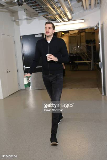 Nemanja Bjelica of the Minnesota Timberwolves arrives at the arena before the game against the Brooklyn Nets on January 27 2018 at Target Center in...