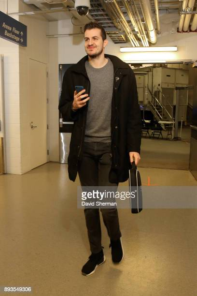 Nemanja Bjelica of the Minnesota Timberwolves arrives at the stadium before the game against the Sacramento Kings on December 14 2017 at Target...