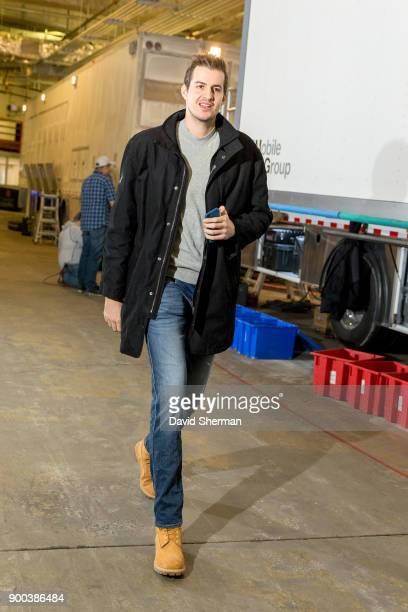 Nemanja Bjelica of the Minnesota Timberwolves arrives before the game against the Los Angeles Lakers on January 1 2018 at Target Center in...
