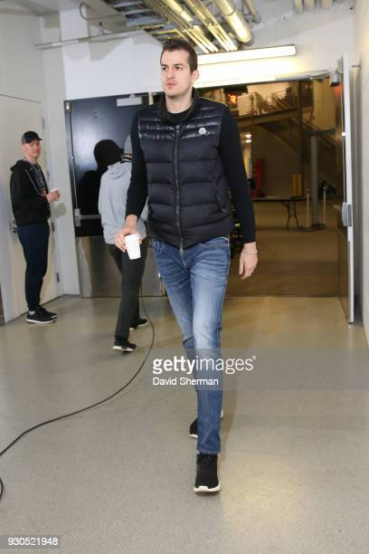 Nemanja Bjelica of the Minnesota Timberwolves arrives before the game against the Golden State Warriors on March 11 2018 at Target Center in...