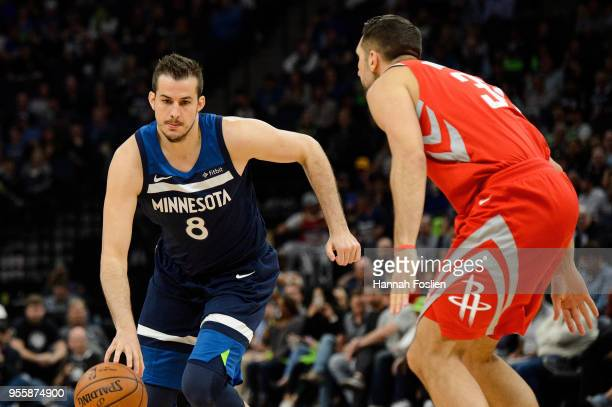 Nemanja Bjelica of the Minnesota Timberwolves dribbles the ball against Ryan Anderson of the Houston Rockets in Game Four of Round One of the 2018...
