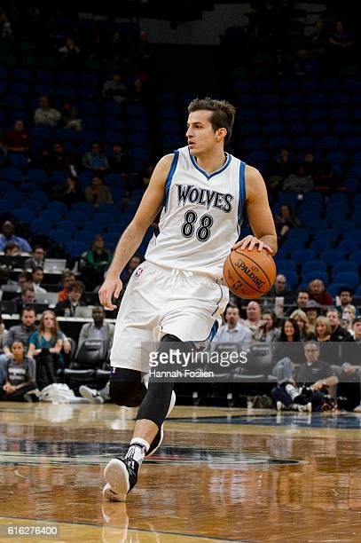Nemanja Bjelica of the Minnesota Timberwolves dribbles the ball against the Memphis Grizzlies during the preseason game on October 19 2016 at Target...