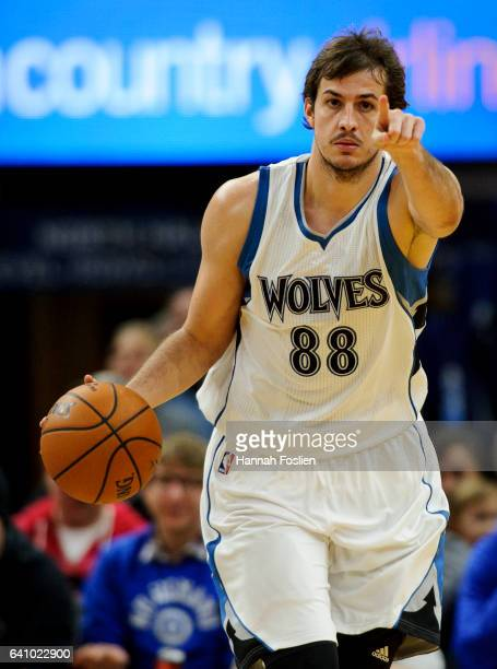 Nemanja Bjelica of the Minnesota Timberwolves dribbles the ball against the Memphis Grizzlies during the game on February 4 2017 at the Target Center...