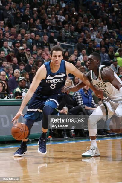 Nemanja Bjelica of the Minnesota Timberwolves dribbles the ball against the Milwaukee Bucks on December 28 2017 at the BMO Harris Bradley Center in...