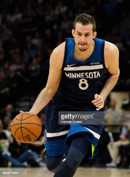 Nemanja Bjelica of the Minnesota Timberwolves dribbles the ball against the Houston Rockets in Game Four of Round One of the 2018 NBA Playoffs on...