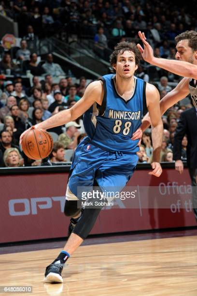 Nemanja Bjelica of the Minnesota Timberwolves drives to the basket during the game against the San Antonio Spurs on March 4 2017 at the ATT Center in...
