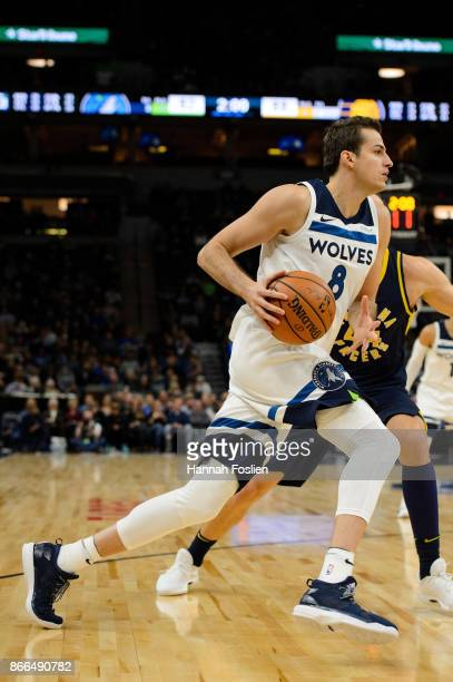 Nemanja Bjelica of the Minnesota Timberwolves drives to the basket against the Indiana Pacers during the game on October 24 2017 at the Target Center...