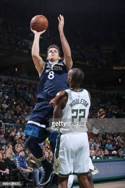 Nemanja Bjelica of the Minnesota Timberwolves drives to the basket against the Milwaukee Bucks on December 28 2017 at the BMO Harris Bradley Center...