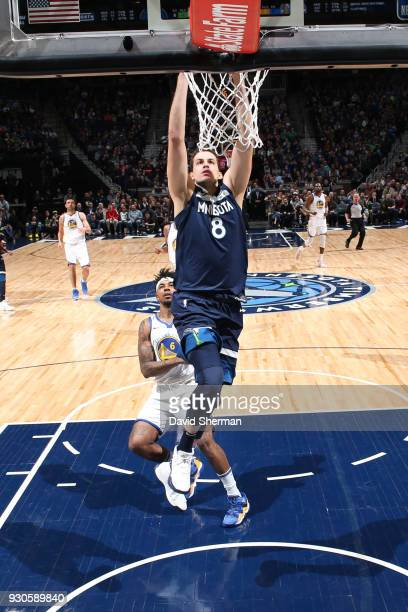 Nemanja Bjelica of the Minnesota Timberwolves drives to the basket during the game against the Golden State Warriors on March 11 2018 at Target...