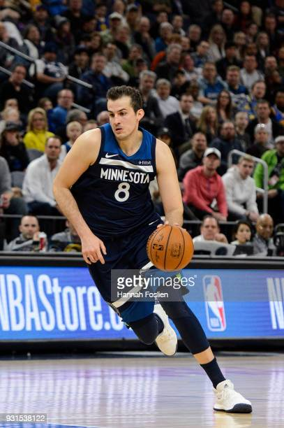 Nemanja Bjelica of the Minnesota Timberwolves drives to the basket against the Golden State Warriors during the game on March 11 2018 at the Target...