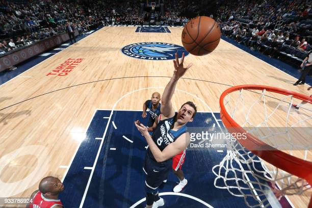Nemanja Bjelica of the Minnesota Timberwolves drives to the basket during the game against the Houston Rockets on March 18 2018 at Target Center in...