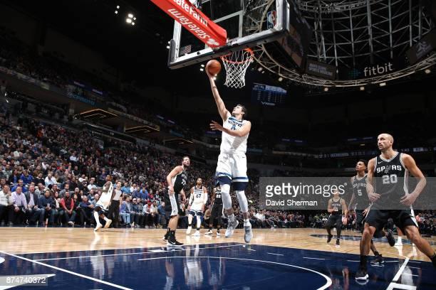 Nemanja Bjelica of the Minnesota Timberwolves dunks against the San Antonio Spurs on November 15 2017 at Target Center in Minneapolis Minnesota NOTE...