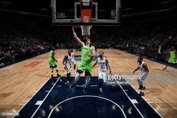 Nemanja Bjelica of the Minnesota Timberwolves dunks the ball against the New Orleans Pelicans on February 3 2018 at Target Center in Minneapolis...