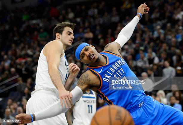 Nemanja Bjelica of the Minnesota Timberwolves fouls Carmelo Anthony of the Oklahoma City Thunder while shooting the ball during the game on January...