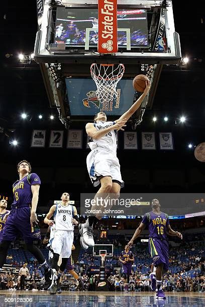 Nemanja Bjelica of the Minnesota Timberwolves goes for a layup during the game against the New Orleans Pelicans on February 8 2016 at Target Center...