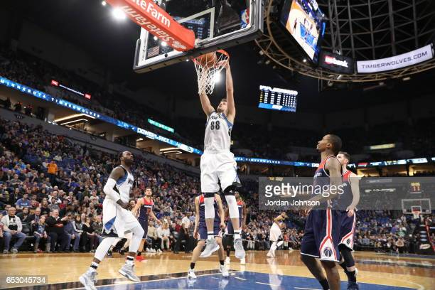 Nemanja Bjelica of the Minnesota Timberwolves goes to the basket against the Washington Wizards on March 13 2017 at Target Center in Minneapolis...