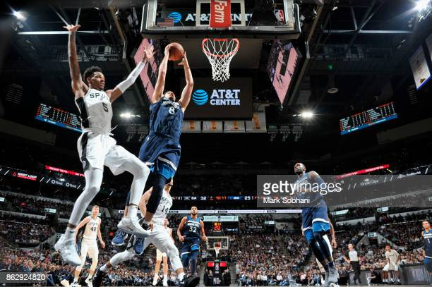 Nemanja Bjelica of the Minnesota Timberwolves goes to the basket against the San Antonio Spurs on October 18 2017 at the ATT Center in San Antonio...
