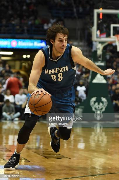 Nemanja Bjelica of the Minnesota Timberwolves handles the ball during a game against the Milwaukee Bucks at the BMO Harris Bradley Center on March 11...