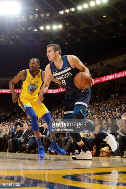 Nemanja Bjelica of the Minnesota Timberwolves handles the ball during the game against the Golden State Warriors on January 25 2018 at ORACLE Arena...