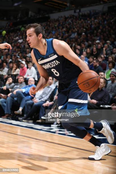 Nemanja Bjelica of the Minnesota Timberwolves handles the ball during the game against the Golden State Warriors on March 11 2018 at Target Center in...