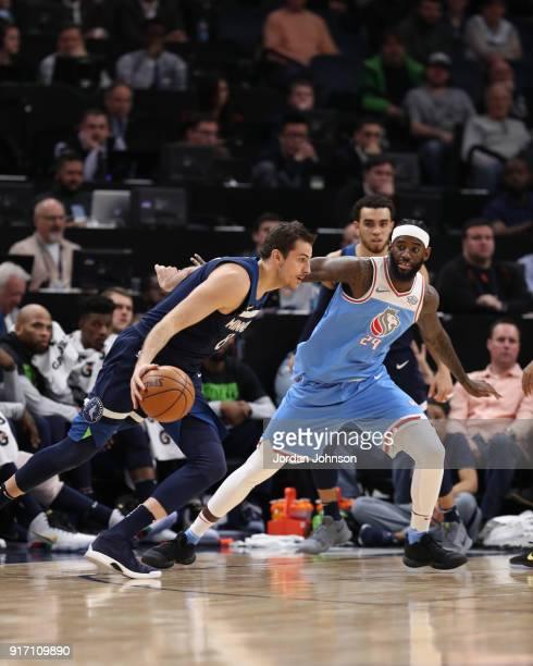 Nemanja Bjelica of the Minnesota Timberwolves handles the ball against JaKarr Sampson of the Sacramento Kings on February 11 2018 at Target Center in...