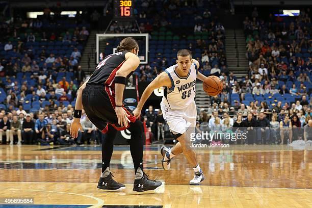 Nemanja Bjelica of the Minnesota Timberwolves handles the ball against the Miami Heat on November 5 2015 at Target Center in Minneapolis Minnesota...