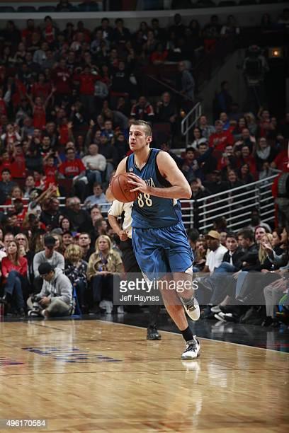 Nemanja Bjelica of the Minnesota Timberwolves handles the ball against the Chicago Bulls on November 7 2015 at the United Center in Chicago Illinois...