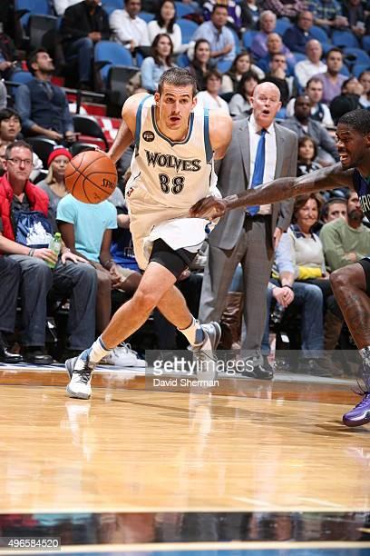 Nemanja Bjelica of the Minnesota Timberwolves handles the ball against the Charlotte Hornets on November 10 2015 at Target Center in Minneapolis...