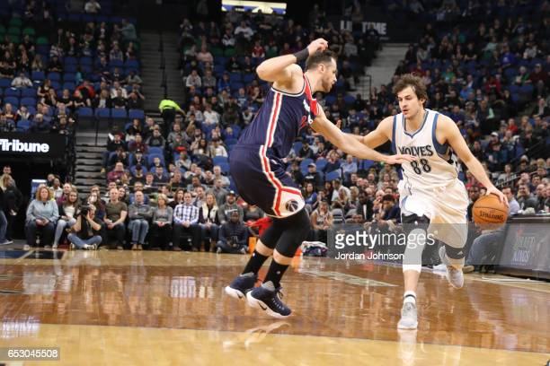 Nemanja Bjelica of the Minnesota Timberwolves handles the ball against the Washington Wizards on March 13 2017 at Target Center in Minneapolis...
