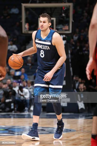Nemanja Bjelica of the Minnesota Timberwolves handles the ball against the Portland Trail Blazers on January 14 2018 at Target Center in Minneapolis...