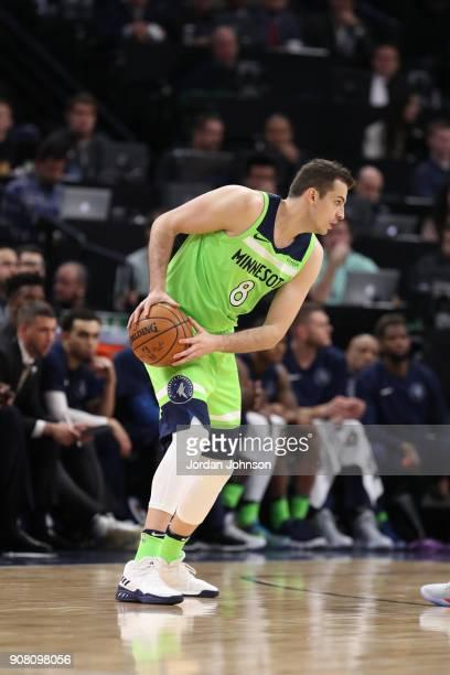 Nemanja Bjelica of the Minnesota Timberwolves handles the ball against the Toronto Raptors on January 20 2018 at Target Center in Minneapolis...