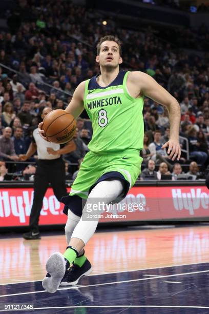 Nemanja Bjelica of the Minnesota Timberwolves handles the ball against the Brooklyn Nets on January 27 2018 at Target Center in Minneapolis Minnesota...