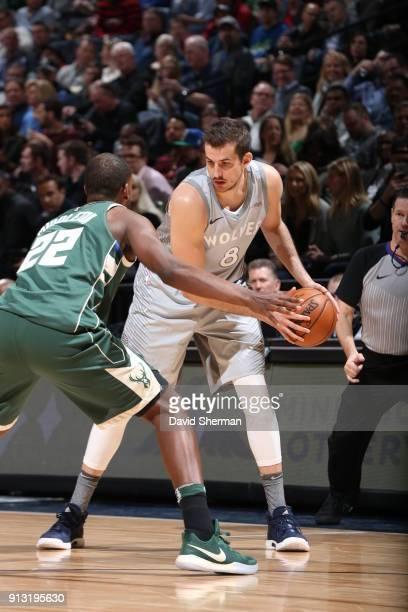 Nemanja Bjelica of the Minnesota Timberwolves handles the ball against the Milwaukee Bucks on February 1 2018 at Target Center in Minneapolis...