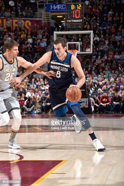 Nemanja Bjelica of the Minnesota Timberwolves handles the ball against the Cleveland Cavaliers on February 7 2018 at Quicken Loans Arena in Cleveland...