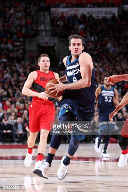 Nemanja Bjelica of the Minnesota Timberwolves handles the ball against the Portland Trail Blazers on March 1 2018 at the Moda Center in Portland...