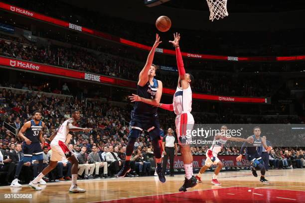 Nemanja Bjelica of the Minnesota Timberwolves handles the ball against the Washington Wizards on March 13 2018 at Capital One Arena in Washington DC...