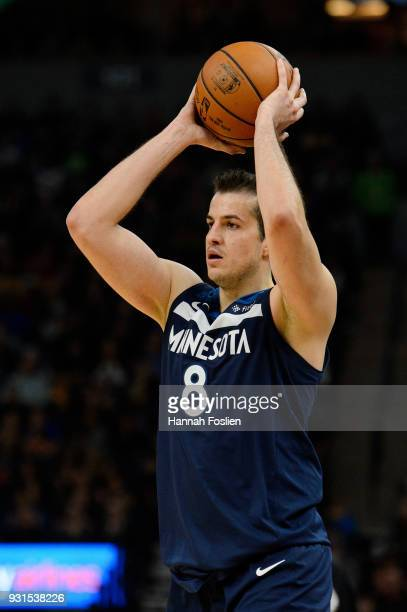 Nemanja Bjelica of the Minnesota Timberwolves has the ball against the Golden State Warriors during the game on March 11 2018 at the Target Center in...
