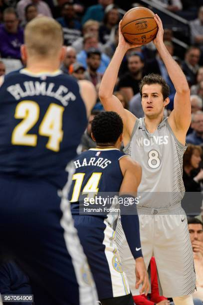 Nemanja Bjelica of the Minnesota Timberwolves has the ball against the Denver Nuggets during the game on April 11 2018 at the Target Center in...