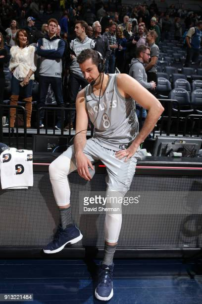 Nemanja Bjelica of the Minnesota Timberwolves interviews with media after the game against the Milwaukee Bucks on February 1 2018 at Target Center in...