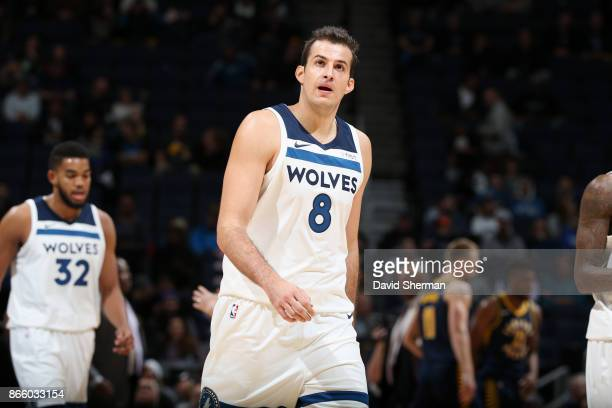 Nemanja Bjelica of the Minnesota Timberwolves looks on during the game against the Indiana Pacers on October 24 2017 at Target Center in Minneapolis...