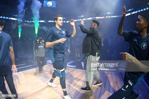 Nemanja Bjelica of the Minnesota Timberwolves makes his entrance before the game against the Houston Rockets on March 18 2018 at Target Center in...