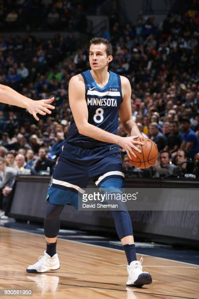 Nemanja Bjelica of the Minnesota Timberwolves passes the ball during the game against the Golden State Warriors on March 11 2018 at Target Center in...