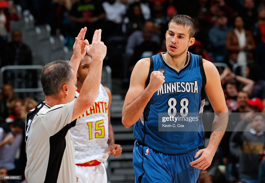 Nemanja Bjelica #88 of the Minnesota Timberwolves reacts after hitting a basket against the Atlanta Hawks at Philips Arena on November 9, 2015 in Atlanta, Georgia. NOTE TO USER User expressly acknowledges and agrees that, by downloading and or using this photograph, user is consenting to the terms and conditions of the Getty Images License Agreement.