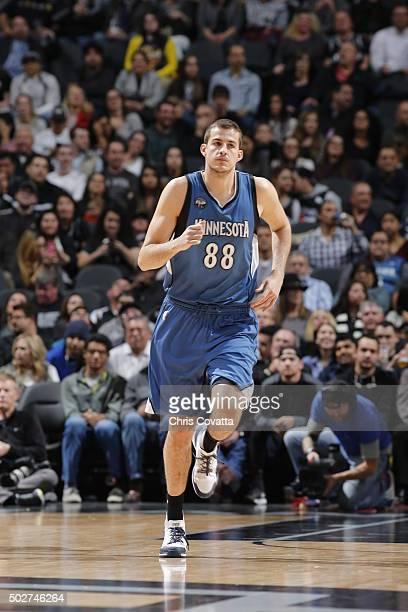 Nemanja Bjelica of the Minnesota Timberwolves runs the court against the San Antonio Spurs on December 28 2015 at the ATT Center in San Antonio Texas...