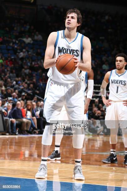 Nemanja Bjelica of the Minnesota Timberwolves shoots a free throw during a game against the Washington Wizards n March 13 2017 at Target Center in...