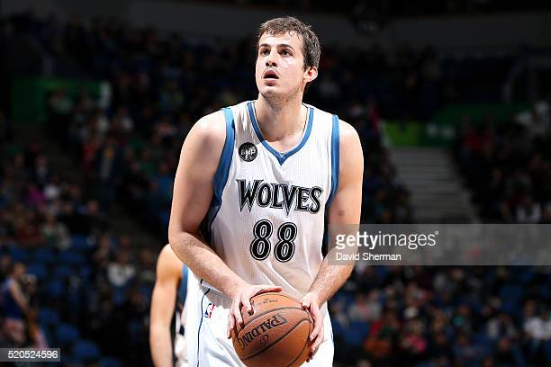 Nemanja Bjelica of the Minnesota Timberwolves shoots a free throw during the game against the Houston Rockets on April 11 2016 at Target Center in...
