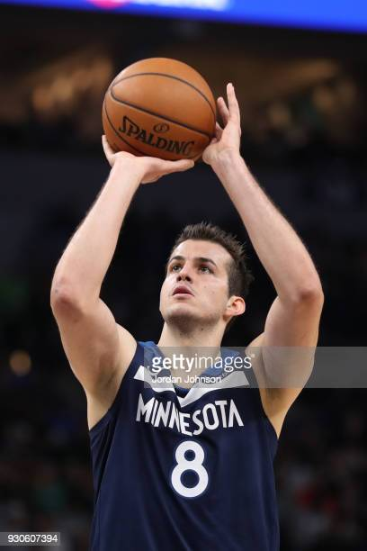 Nemanja Bjelica of the Minnesota Timberwolves shoots a free throw during the game against the Golden State Warriors on March 11 2018 at Target Center...
